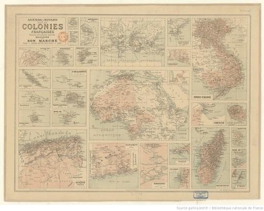 Agenda-buvard - Carte des colonies Françaises, Gallica BnF