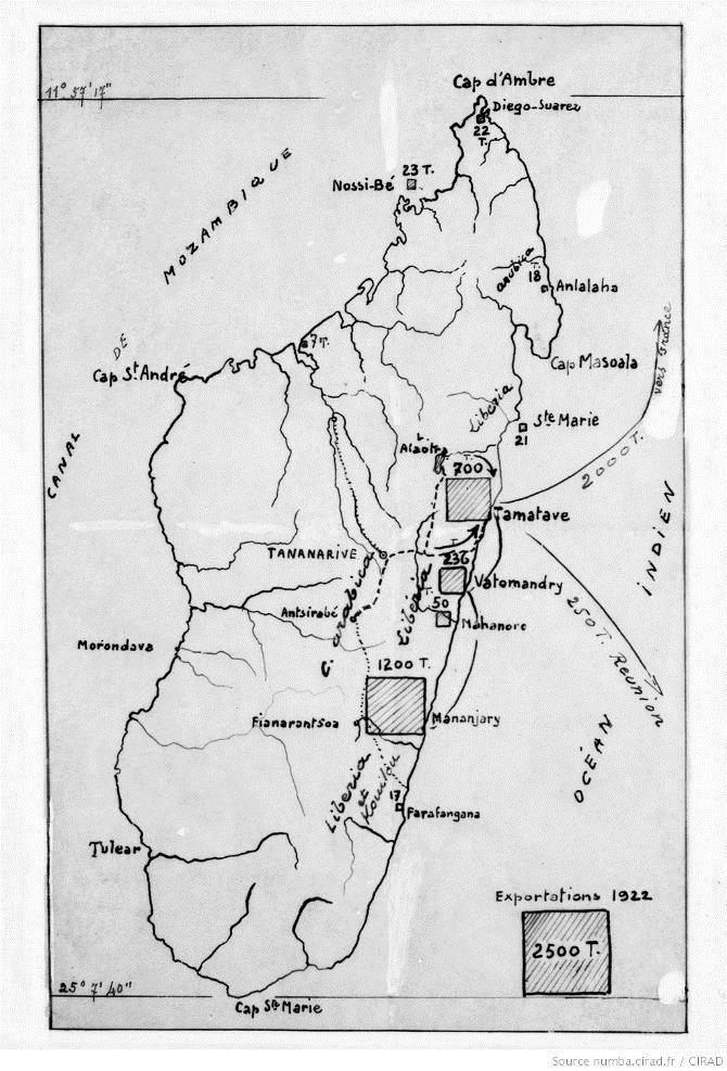 Image Carte des exportations de café à partir de Madagascar